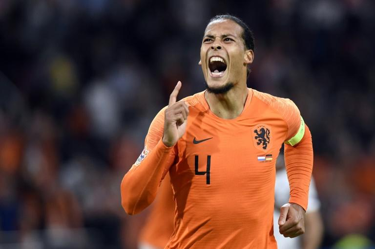On target: Virgil van Dijk celebrates after scoring the opening goal