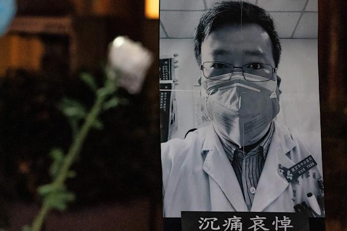 People attend a vigil to mourn Doctor Li Wenliang on February 7, 2020 in Hong Kong, China.