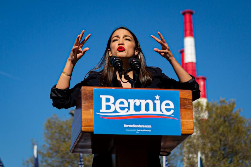 """QUEENS, NEW YORK, UNITED STATES - 2019/10/19: At a campaign rally in Queens, New York, Rep. Alexandria Ocasio-Cortez (D-N.Y.) endorsed Sen. Bernie Sanders (I-Vt.) presidential bid. The event dubbed """"Bernie's Back Rally"""" comes as Sanders returns to campaigning after suffering a heart attack earlier this month.An estimated 26,000 people attended. (Photo by Michael Nigro/Pacific Press/LightRocket via Getty Images)"""