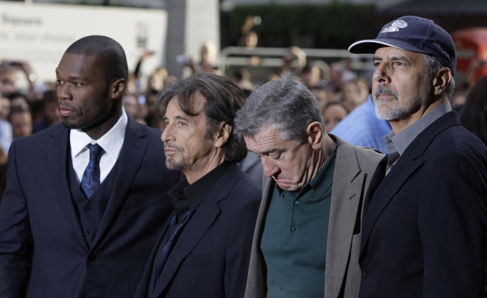 """American actors Curtis '50 Cent' Jackson,  Al Pacino, Robert De Niro, and director Jon Avnet, from left, arrive for the British premier of the film """"Righteous Kill"""", in central London, Sunday Sept. 14, 2008. (AP Photo/Joel Ryan)"""
