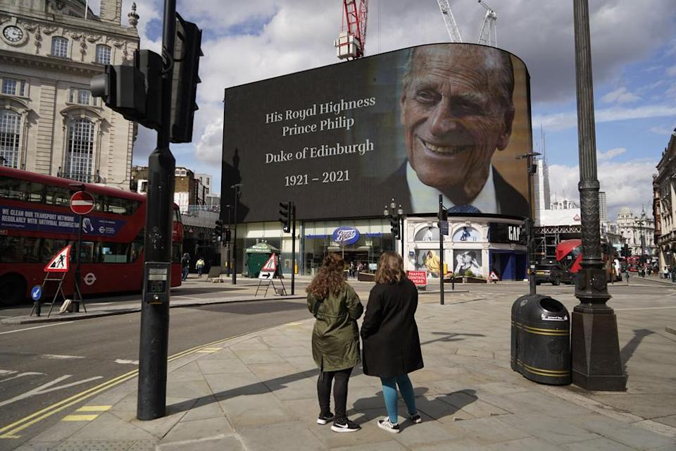 The electronic billboard at London's Piccadilly Circus displays a tribute to Prince Philip