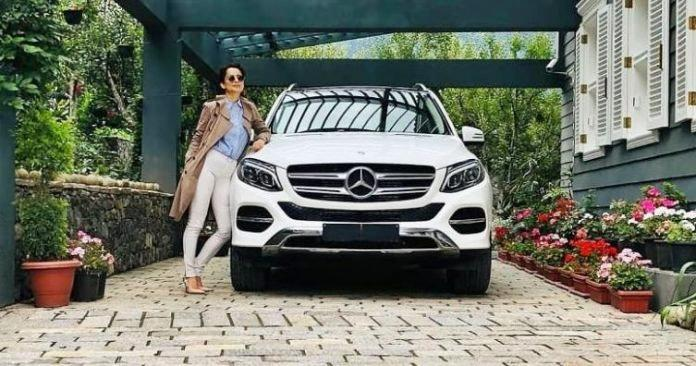 The GLE was gifted to her by her sister and manager Rangoli Chandel and her chartered accountant. The Mercedes car is located at her Manali holiday home.