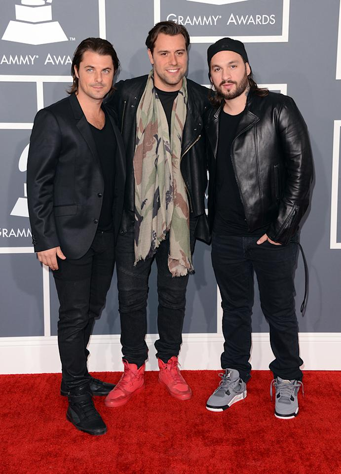 (L-R) Axwell, Sebastian Ingrosso, and Steve Angello of Swedish House Mafia arrive at the 55th Annual Grammy Awards at the Staples Center in Los Angeles, CA on February 10, 2013.