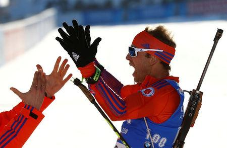Biathlon - IBU World Championships - Men's 15km Individual - Hochfilzen, Austria - 16/2/17 -    Lowell Bailey from the U.S.in action.  REUTERS/Leonhard Foeger