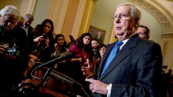 PHOTO: Senate Majority Leader Mitch McConnell speaks to reporters, Dec. 10, 2019, on Capitol Hill in Washington. (Andrew Harnik/AP)