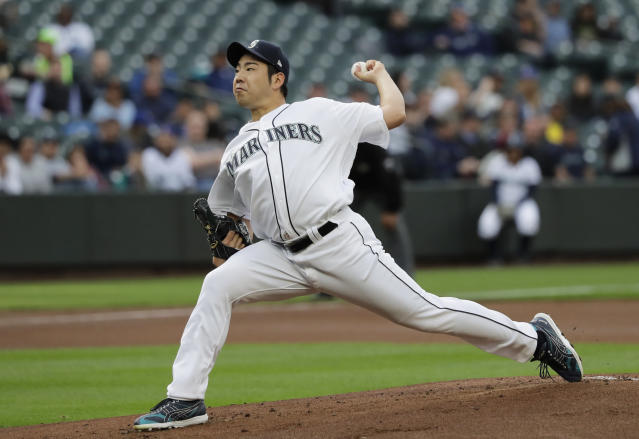 Seattle Mariners starting pitcher Yusei Kikuchi throws against the Oakland Athletics during the first inning of a baseball game, Monday, May 13, 2019, in Seattle. (AP Photo/Ted S. Warren)