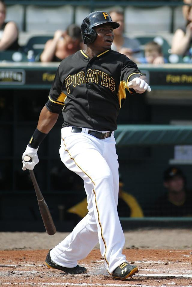 Pittsburgh Pirates' Gregory Polanco bats during the team's annual spring training Black and Gold intra-squad baseball game in Bradenton, Fla., Tuesday, Feb. 25, 2014. (AP Photo/Gene J. Puskar)