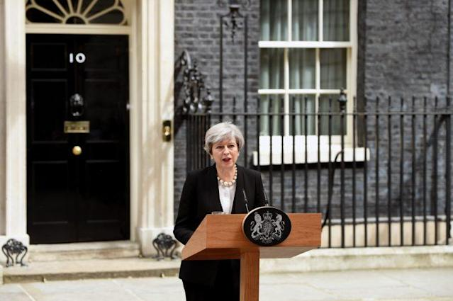 British Prime Minister Theresa May delivers a statement outside Number 10 Downing Street in London on May 23, 2017. (Photo: Kate Green/Anadolu Agency/Getty Images)
