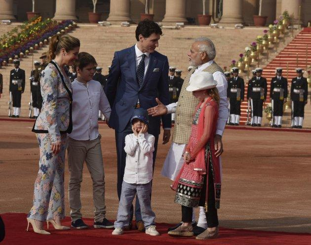 Prime Minister Justin Trudeau and his family meet Indian MP Narendra Modi at the ceremonial reception at Rashtrapati Bhawan on Feb. 23, 2018 in New Delhi, India.