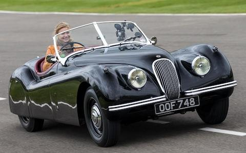 Jodie Kidd in Jaguar XK120