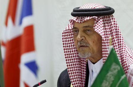 Saudi Foreign Minister, Prince Saud al-Faisal looks on during a news conference in Riyadh