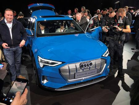 Audi unveils its first production all-electric vehicle, the e-tron sport utility vehicle at an event in Richmond, California, U.S. September 17, 2018. REUTERS/Joe White