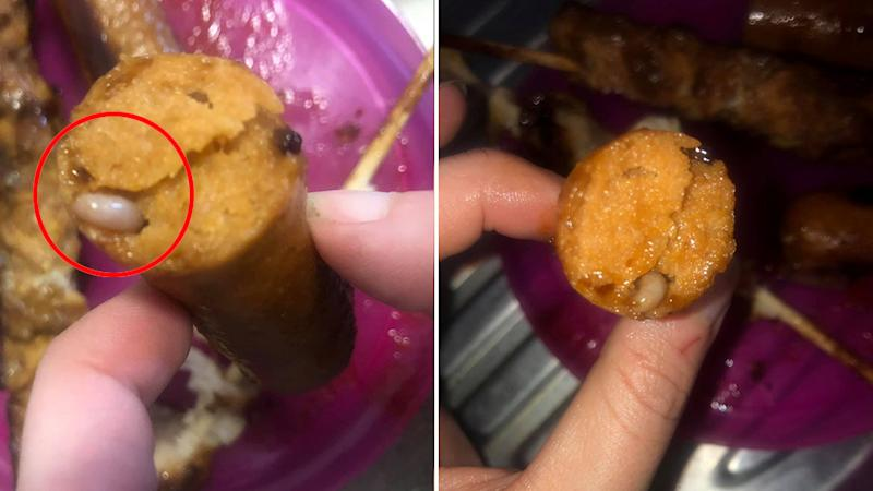 A Coles customer came across a maggot in her sausages, after her daughter already finished eating. Source: Facebook.