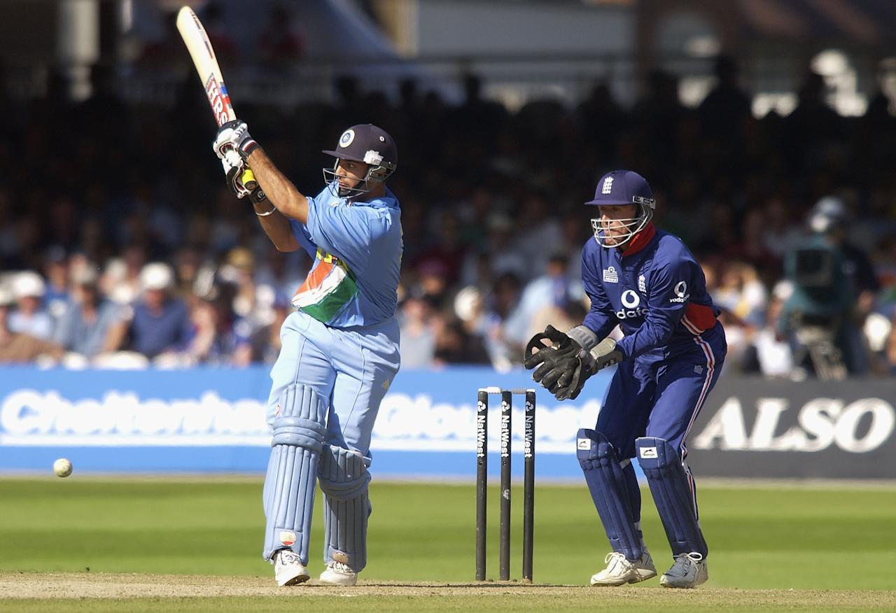 LONDON, ENGLAND - JULY 13:  Yuvraj Singh of India hits a boundery during the match between England and India in the NatWest One Day Series Final at Lord's in London, England on July 13, 2002. (Photo by Tom Shaw/Getty Images)