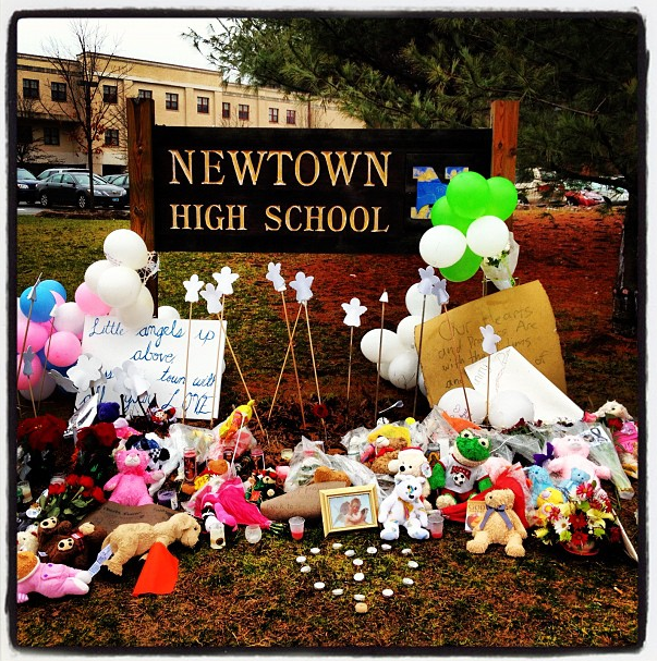 Entrance to Newtown High School, 9:45 a.m. (Dylan Stableford/Yahoo! News)