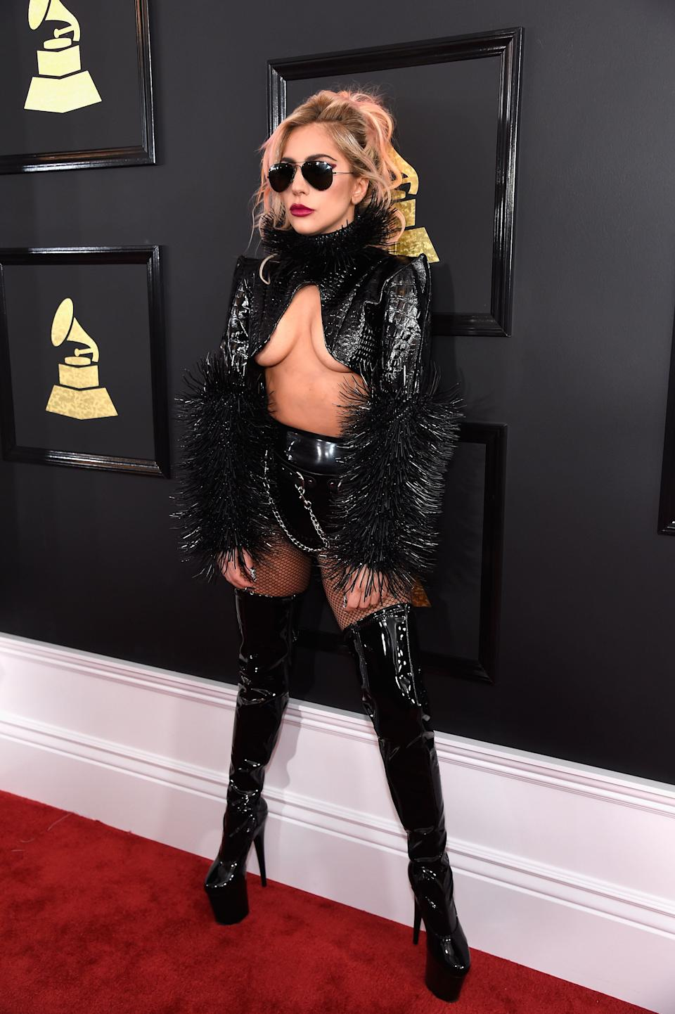 Gaga wears a bold ensemble by Alex Ulichny on the red carpet at the 2017 Grammy Awards.