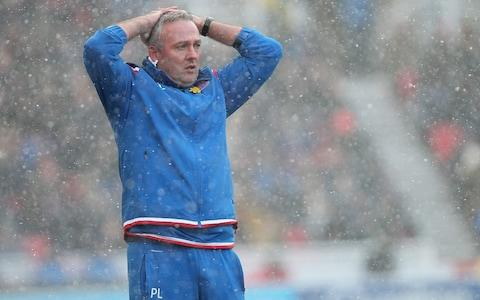 Paul Lambert reacts on the touchline against Everton - Credit: Getty images