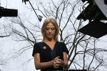 Counselor to U.S. President Donald Trump, Kellyanne Conway prepares to go on the air in front of the White House in Washington, U.S