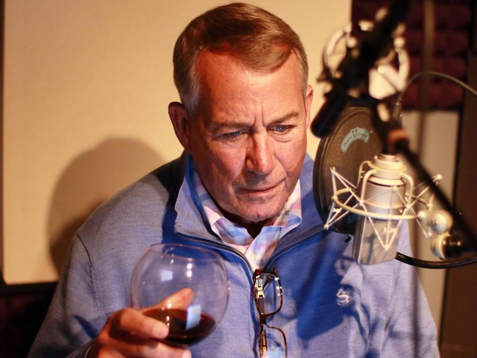<p>Former House speaker John Boehner recording his audiobook, On The House: A Washington Memoir, on Thursday 25 February 2021</p> ((John Boehner - Twitter))