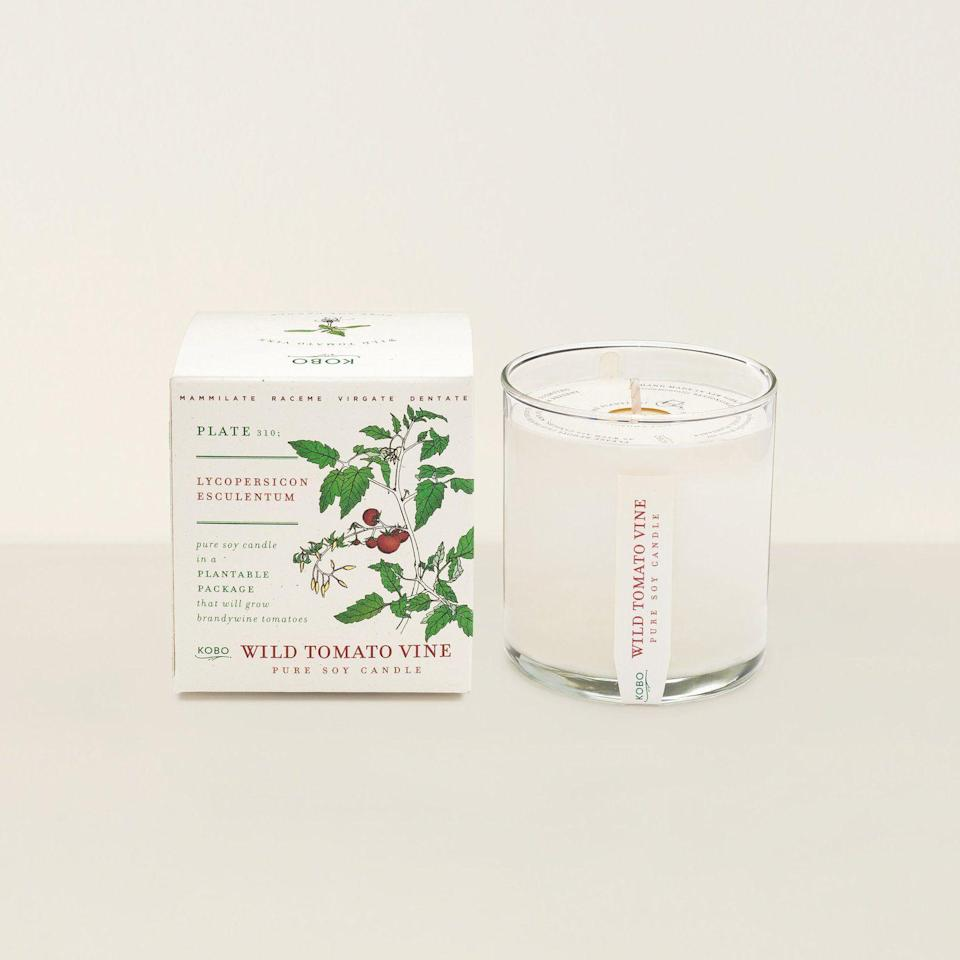 """<p>goodeeworld.com</p><p><strong>$28.00</strong></p><p><a href=""""https://www.goodeeworld.com/collections/kobo/products/kobo-wild-tomato-vine-candle"""" rel=""""nofollow noopener"""" target=""""_blank"""" data-ylk=""""slk:BUY NOW"""" class=""""link rapid-noclick-resp"""">BUY NOW</a></p><p>Not only does this tomato vine candle have a unique scent, it also comes in plantable packaging, so Mom can grow a tomato garden, too. </p>"""