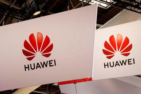 FILE PHOTO: Logo of Huawei is seen at VivaTech fair in Paris