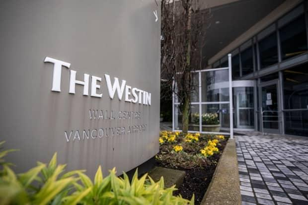 The Marriott Westin Wall Centre Vancouver Airport, a federally approved quarantine hotel, is pictured in Richmond, B.C., on Monday.