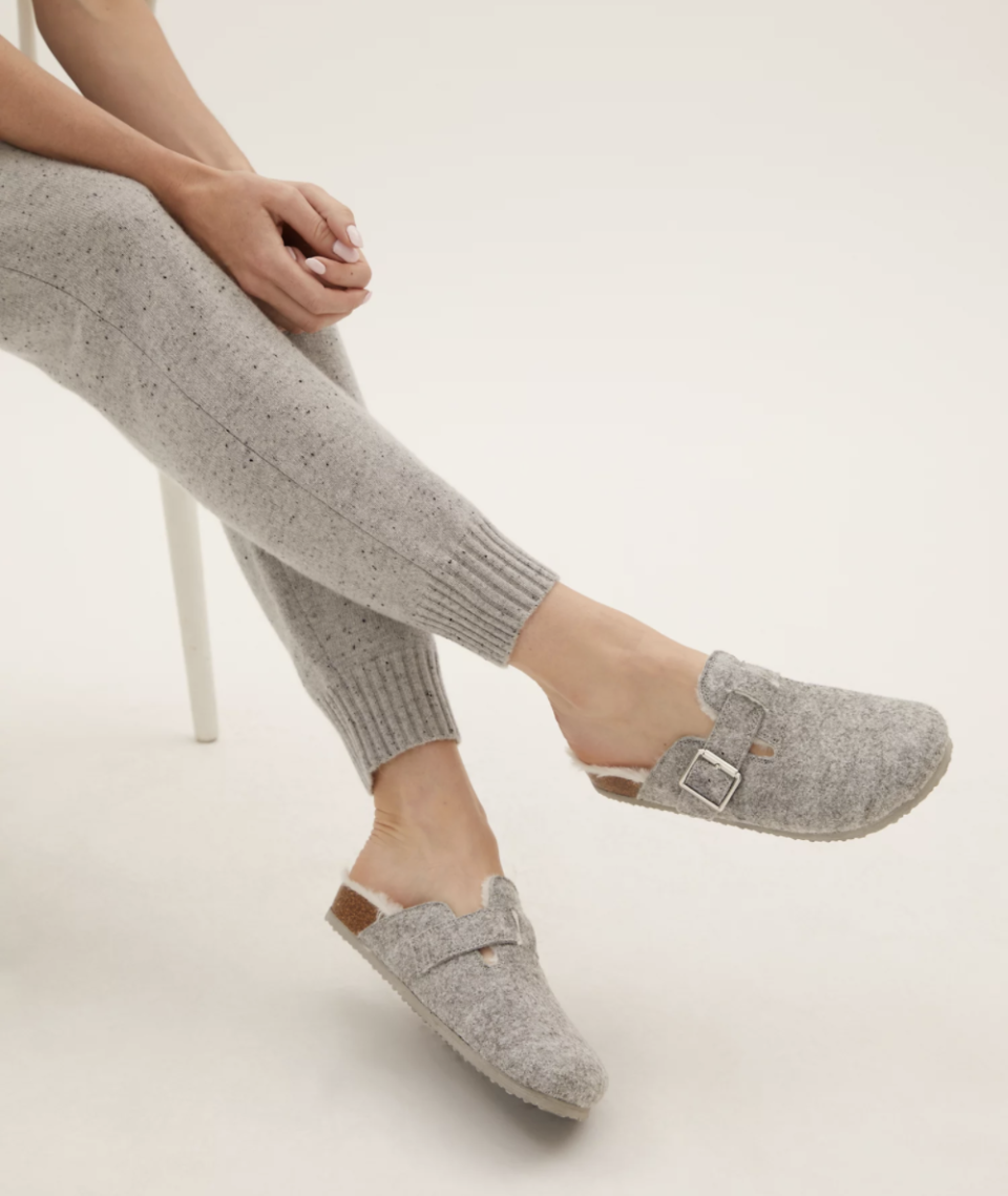 The comfy slippers come in grey, tan and pink. (Marks and Spencer)