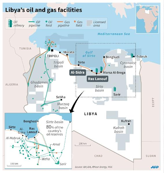 Map of Libya showing oil and gas fields and pipelines, and oil refineries. Locates oil facilities targeted by Islamic States jihadists. (AFP Photo/-)