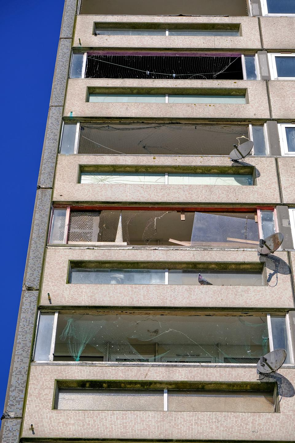 Broken windows at Saxelby House. (SWNS)