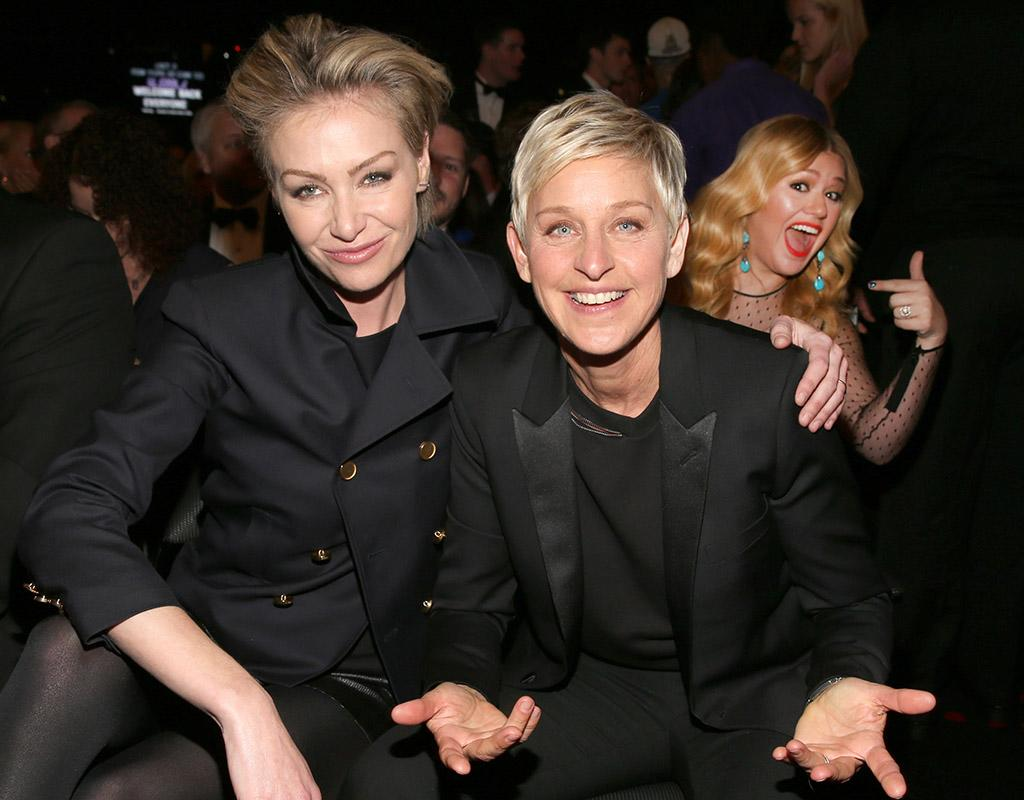 LOS ANGELES, CA - FEBRUARY 10:  Actress Portia de Rossi (L) and comedienne Ellen DeGeneres attend the 55th Annual GRAMMY Awards at STAPLES Center on February 10, 2013 in Los Angeles, California.  (Photo by Christopher Polk/Getty Images for NARAS)