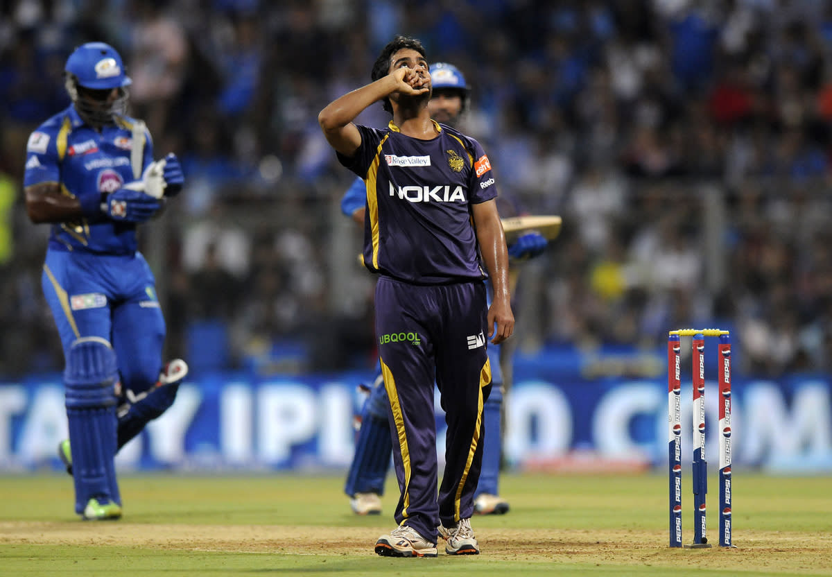Iqbal Abdulla of Kolkata Knight Riders celebrates the wicket of Dwayne smith of Mumbai Indians during match 53 of the Pepsi Indian Premier League ( IPL) 2013  between The Mumbai Indians and the Kolkata Knight Riders held at the Wankhede Stadium in Mumbai on the 7th May 2013 ..Photo by Pal Pillai-IPL-SPORTZPICS  ..Use of this image is subject to the terms and conditions as outlined by the BCCI. These terms can be found by following this link:..https://ec.yimg.com/ec?url=http%3a%2f%2fwww.sportzpics.co.za%2fimage%2fI0000SoRagM2cIEc&t=1503229413&sig=AORTDU0B.Pe4Ews0tcZnUA--~D