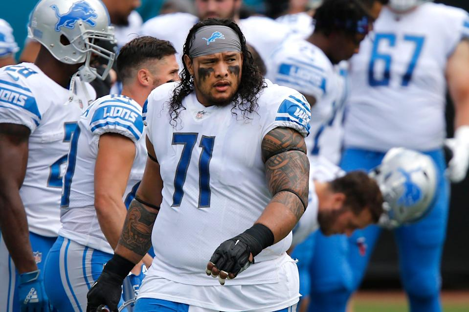 Detroit Lions defensive tackle Danny Shelton (71) walks on the field before a game against the Jacksonville Jaguars on Oct. 18, 2020, at TIAA Bank Field.