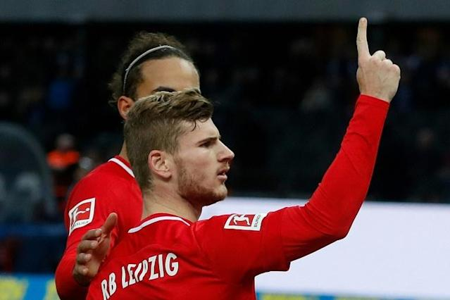 Timo Werner scored twice as RB Leipzig won 4-2 at Hertha Berlin on Saturday to climb to second in the Bundesliga table. (AFP Photo/Odd ANDERSEN)