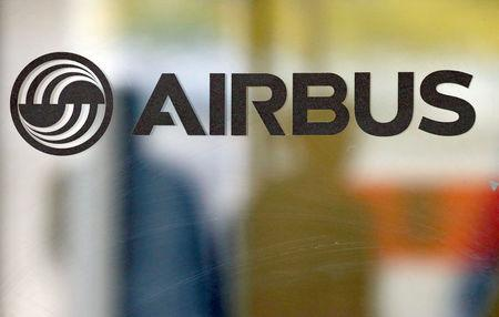 The logo of Airbus is pictured at the company's headquarters in Colomiers near Toulouse