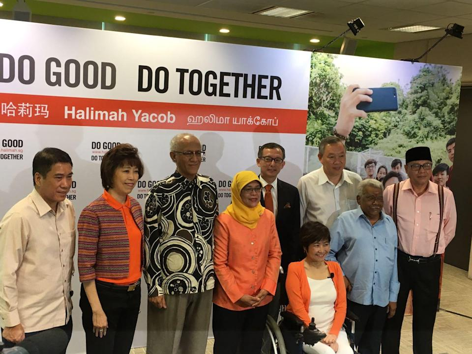 Halimah Yacob with her husband Abdullah Alhabshee (third from right) and key members of her campaign team. PHOTO: Nicholas Yong