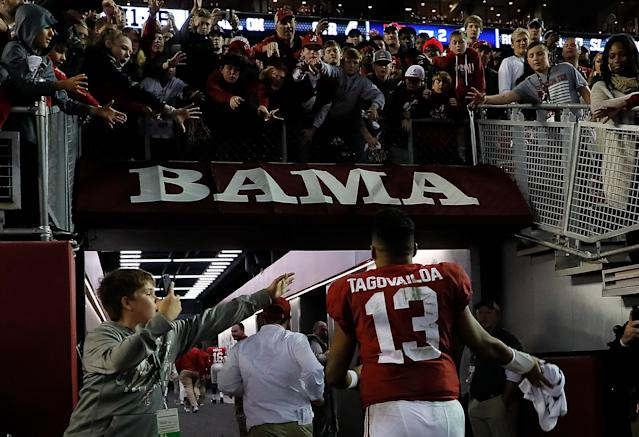 Alabama likely just needs to show up Saturday against Georgia to guarantee itself a spot in the College Football Playoff. (Getty)