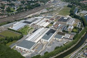 Aerial view of Bombardier Transportation's site in Bruges, Belgium.