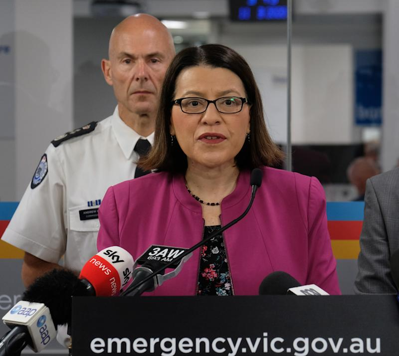 MELBOURNE, AUSTRALIA - MARCH 11: (L-R) Minister for Health, Jenny Mikakos and Andrew Crisp, Victoria's Emergency Management Commissioner give an update on the states response to COVID-19 at the State Emergency Centre on March 11, 2020 in Melbourne, Australia. (Photo by Luis Ascui/Getty Images)