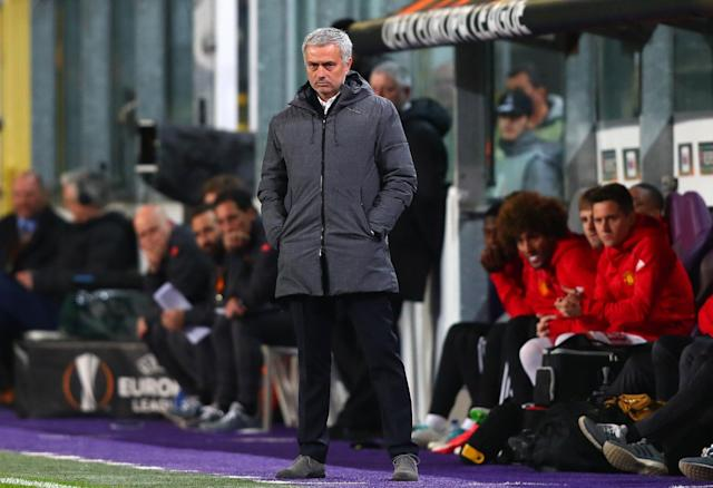 <span>Well, it's a one for the money, two for the ... nah: Mourinho and his grey suede shoes</span> <span>Credit: Clive Rose/Getty Images </span>