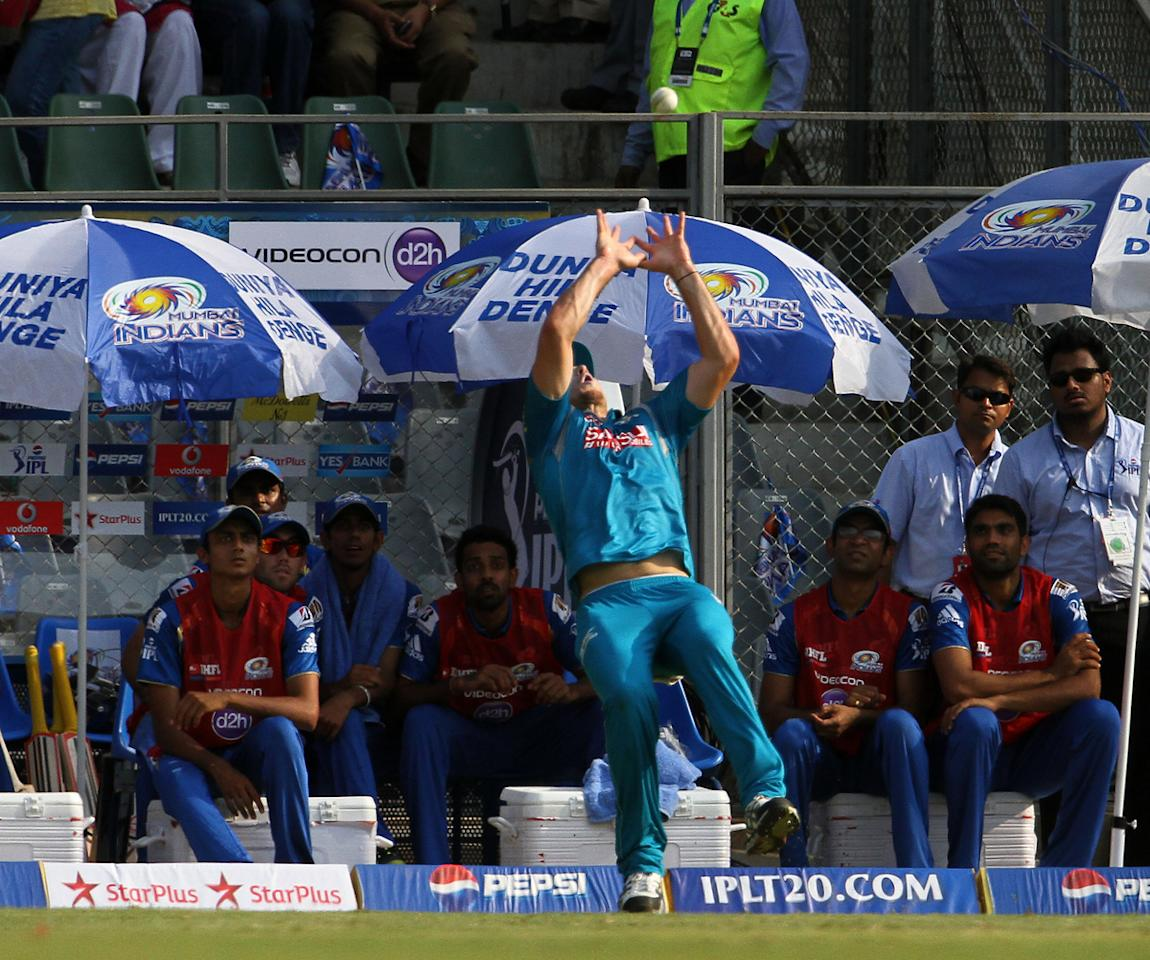Pune Warriors player Mitchell Marsh takes catch during match 15 of the Pepsi Indian Premier League ( IPL) 2013  between The Mumbai Indians and the Pune Warriors India held at the Wankhede Stadium in Mumbai on the 13th April 2013 ..Photo by Vipin Pawar-IPL-SPORTZPICS  ..Use of this image is subject to the terms and conditions as outlined by the BCCI. These terms can be found by following this link:..https://ec.yimg.com/ec?url=http%3a%2f%2fwww.sportzpics.co.za%2fimage%2fI0000SoRagM2cIEc&t=1498363491&sig=U5kYiMRq0UlVzLE_n.yH2Q--~C