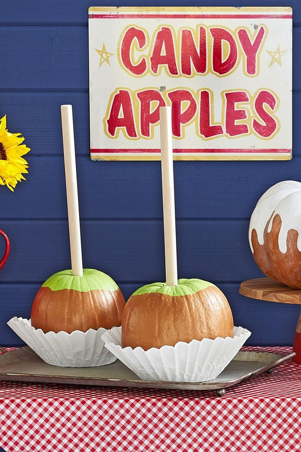 <p>Nothing tops the real thing, but these adorable mini pumpkins come pretty close. But if you don't want to tease your party guests, make sure you have some edible caramel apples on hand, too. </p>