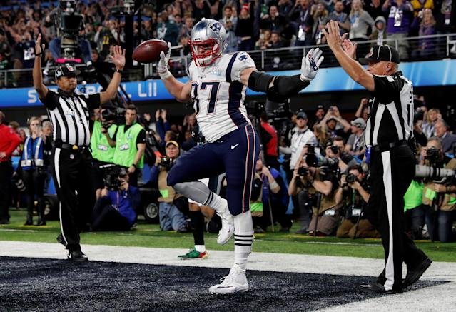 NFL Football - Philadelphia Eagles v New England Patriots - Super Bowl LII - U.S. Bank Stadium, Minneapolis, Minnesota, U.S. - February 4, 2018 New England Patriots' Rob Gronkowski celebrates scoring a touchdown REUTERS/Kevin Lamarque TPX IMAGES OF THE DAY