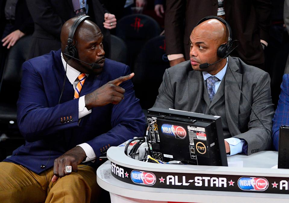Shaquille O'Neal and Charles Barkley, seen here in 2013, joined former President Barack Obama to encourage people to get COVID-19 vaccines.
