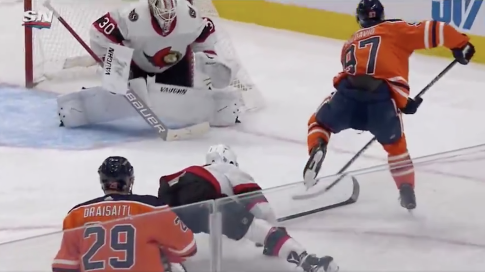 Connor McDavid and Leon Draisaitl put on an absolute clinic versus the Sens on Wednesday. (Twitter/Sportsnet)