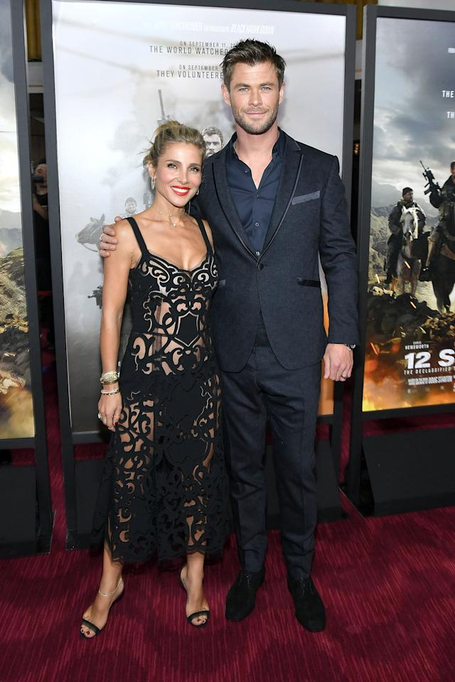 <p>Elsa, in Dolce & Gabbana, and Chris, in a navy blue suit, attended the premiere of '12 Strong' together in NYC. <em>[Photo: Getty]</em> </p>