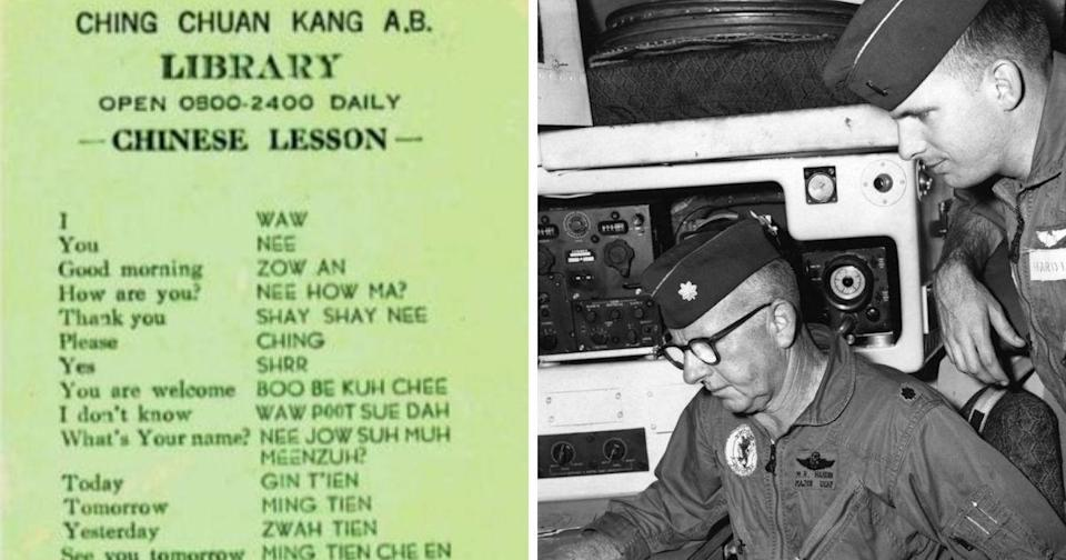 """<p>""""Chinese lesson"""" supplied to the US air force pilots stationed in Taiwan during the 1960s (left) and Maj. Melvin Hardin and his son, 1st Lt. Donell Hardin, plot a course for their C-130E Hercules at Ching Chuan Kang Air Base, Taiwan, in May 1969 (right) 