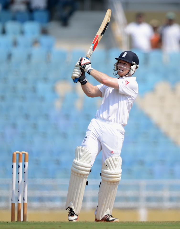 MUMBAI, INDIA - NOVEMBER 03:  Eoin Morgan of England bats during day one of the tour match between Mumbai A and England at The Dr D.Y. Palit Sports Stadium on November 3, 2012 in Mumbai, India.  (Photo by Gareth Copley/Getty Images)