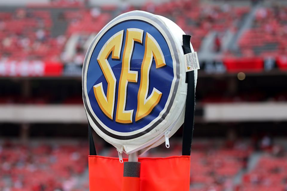 The SEC logo is shown on the down markers at a game between the UAB Blazers and Georgia Bulldogs on Sept. 11, 2021. (Michael Wade/Icon Sportswire via Getty Images)