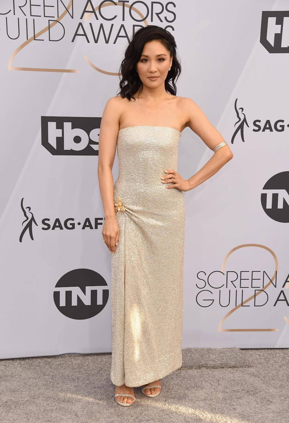 <p>Constance Wu shimmered in a strapless gown at the 2019 Screen Actors Guild Awards. (Photo: Getty Images) </p>