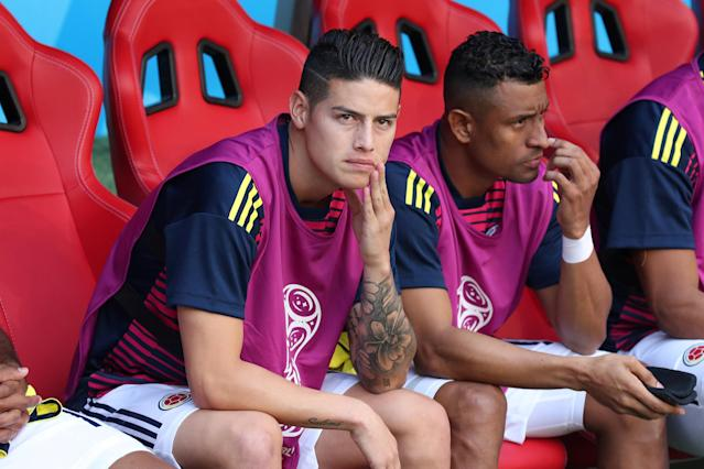 Soccer Football - World Cup - Group H - Colombia vs Japan - Mordovia Arena, Saransk, Russia - June 19, 2018 Colombia's James Rodriguez on the substitutes bench with team mates before the match REUTERS/Ricardo Moraes TPX IMAGES OF THE DAY